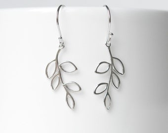 Silver branch earrings, sterling silver leaf earrings, tree jewelry, bridesmaid, simple jewelry, littleglamour gift for her - Verbena