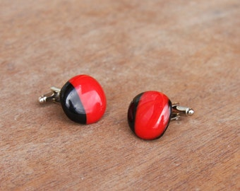 Fused Glass Cuff-links - Red and Black