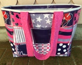 Purple crazy quilt design reversible oilcloth tote bag