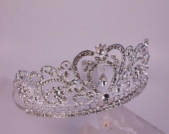 Rhinestone Silver Finish Metal Filigree Fantasy Renaissance Game of Thrones Tudor Medieval Tiara Crown
