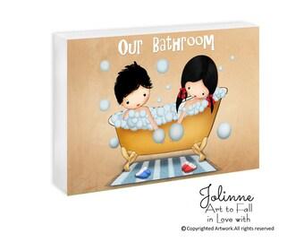 kids bathroom art, door sign custom, personalized,kids door signs, kids bathroom decor, kids bathroom signs, children illustration,door sign