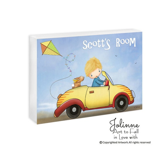 Custom name boys door sign for kids room or nursery, childrens personalized wooden door plaque, kids personalized gifts,boy in a car, bunny