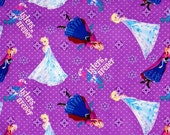 BTY Frozen Sisters Cotton Woven Fabric BTY