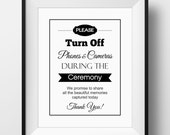 Unplugged Wedding Sign, No Cell Phones or Cameras Wedding - PRINTABLE Instant download, Unplugged Ceremony, 3 Sizes