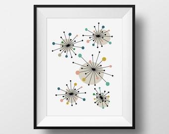Starburst Mid Century Modern Print, Atomic Stars, Starburst Retro Wall Art, PRINTABLE, 1960s Art Print, Retro Print, Mid Century Printable
