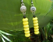 Handmade Floral Yellow Beaded Earrings- Ready to ship