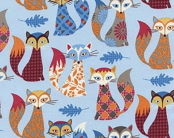 Novelty Timeless Treasure Fabric Cute Multicolored Patterned Fox Foxes on Blue