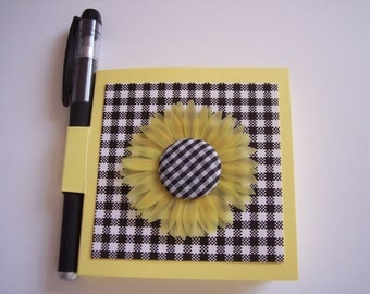 Sunflower Post it note older with Gel Pen