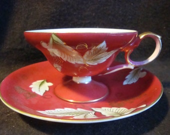 Three Mismatched tea cups and saucers