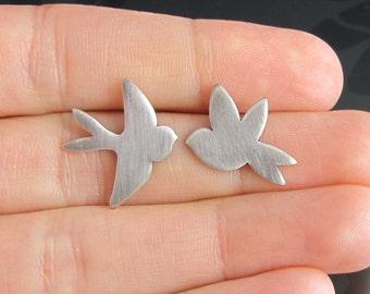 sterling silver swallow bird earrings - sterling silver earrings - stud earrings - flight - asymmetric - large stud - mismatched earrings