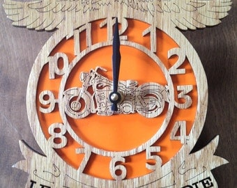 Motorcycle clock, scroll saw cut, wooden art, woodworking, wall decor, fretwork, clock--4cl