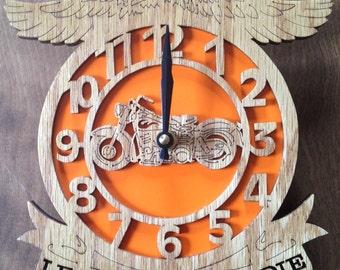 Motorcycle clock, scroll saw cut, wooden art, woodworking, wall decor, fretwork, clock--4cl
