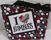 Zombie Love Large Tote Bag Red and Black Gothic Purse Alternative Fashion Bag Rocker Chic Tote Ready To Ship