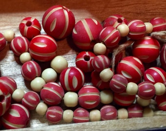 rare antique beads to restring or repurpose circa 1880s red Christmas garland bakelite or wood graduating sizes