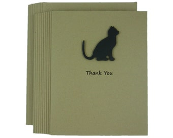 Black Cat Thank You Card Pack of Cards Cat Greeting Card Set of Cards Kraft Cards