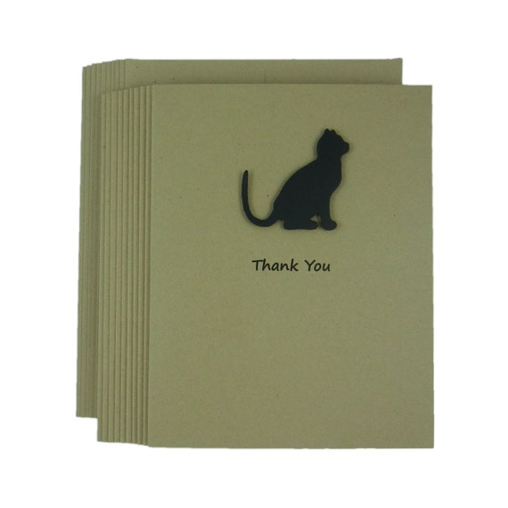 Cat Thank You Cards - Handmade Kraft Cat Thank You Card Note cards - Black Cat Silhouette - Choose your inside phrase - 10 Pack Single Card