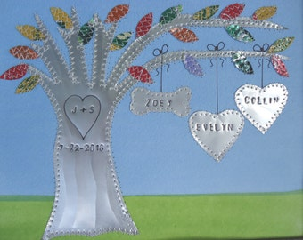 10 Year Anniversary Gift - Tin Anniversary Gift - Family Tree - Personalized - Engraved Names and Wedding Date - Aluminum