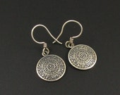 Silver Aztec Calendar Earrings, Mexican Earrings, Sun Earrings, 950 Silver Earrings, Aztec Earrings, Mayan Earrings