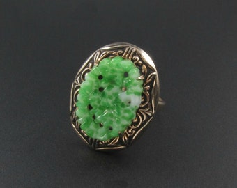 Peking Glass Ring, Faux Jade Ring, Green Glass Ring, Asian Ring, Molded Peking Glass Ring, Statement Ring, Adjustable Ring