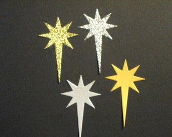 8 Christmas Star Die Cuts: Silver or Gold Glitter Bethlehem Stamping supplies Handmade card
