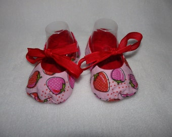 Ready to Ship - Size 3-6 Months - STRAWBERRIES and RED Mary Jane Baby Shoes - Sizes Available 0-3, 3-6, 6-9, 9-12 & 12-18 Months