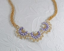 Woven Necklace Oval Pearl in Lavender Necklaces for Women