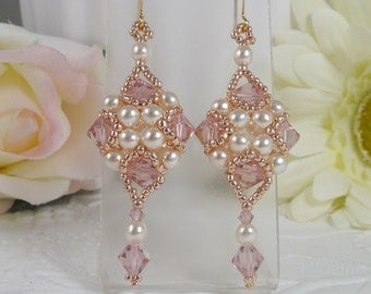 Woven Dangle Earrings Blush Pink Crystal and Pearl with Rose Gold Seed Beads