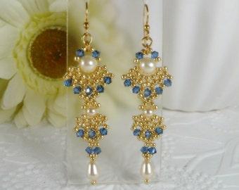 Woven Dangle Earrings with Swarovski Crystal Sapphire Satin