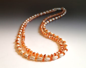 Biwa Freshwater Pearls and Carnelian Multi Strand Necklace