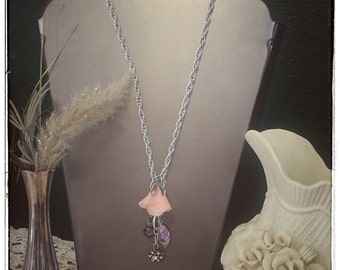 Silver Pink Rose Charm Necklace