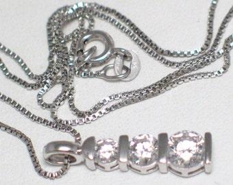 Silver Micro box link necklace gemstone pendant 18 inch 925 sterling silver cubic zirconia diamond alternative 3 stone dainty chain
