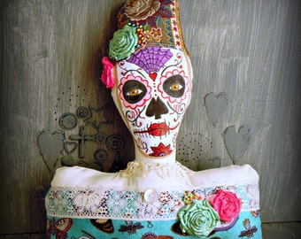 Dios De Los Muertos Sugar Skull Pillow Day of the Dead Folk Decoration Home Decor Shelf Sitter Sofa Pillow