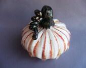 Hand Blown Art Glass Pumpkin,White with Orange Strips