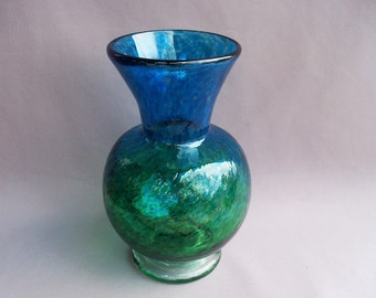 Hand Blown Art Glass Optic Pattern  Vase ,Aquamarine and Emerald Green color.