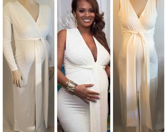 Maternity V Neck Fitted Dress / Maternity Gown/ Baby Shower Gown/  Photoshoot Maternity