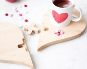 Valentine's Day Gift - Heart Shaped Kitchen Trivet - Solid Wood Trivet - Mother's Day Gift - Anniversary Gift