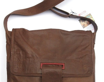 Unique brown messenger bag with red details, laptop division, RECYCLED LEATHER