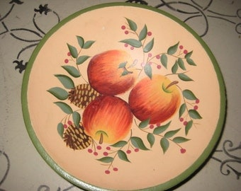 Rustic Decor/Wood Bowl/Toile Painted w/Fruit