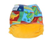 Fitted Cloth Diaper, OS, Cotton Velour, Cotton Twill - Dinosaurs, yellow