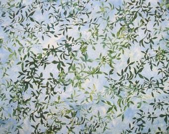 Vine Skipper Blue Green Hoffman Bali Chop Batik Fabric Yard