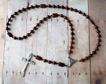Black and Brown Rosary in Mahogany Obsidian with Chi-Rho Center and Risen Christ Crucifix