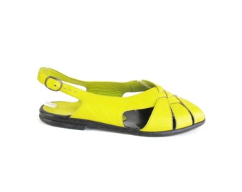 Vintage 80s CHARLES JOURDAN Sandals Bright Yellow Leather Sandals Slingback  Flats Slingback Womens Open Toe Summer Sandals Size 6.5