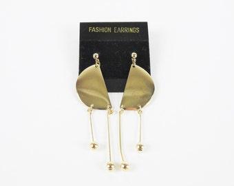 80s Vintage Gold Moon Earrings Modern Bead Drop Earrings Geometric Earrings SemiCircle Earrings Metal Dangle Earrings Dainty Delicate E765