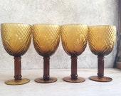 Set of four vintage amber mold blown glass goblets, amber wine glasses, vintage Mexican barware, housewarming gift Mexican kitchen