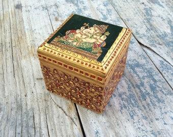 Vintage Lord Ganesh Elephant Trinket Box Bohemian Decor Ganesha Art
