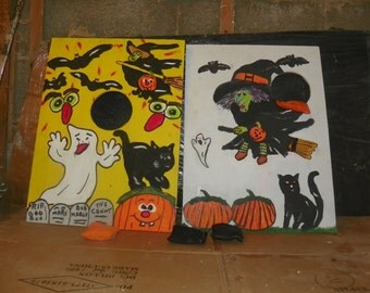 TWO Games witch  & friends   bean  hole  game   with 6  bean bags