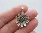 6 Daisy flower charms antique silver tone F132