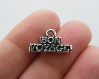 BULK 20 Bon Voyage charms antique silver tone M592