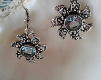 Blue Topaz  Earrings,Sun Earrings,Flower Earrings