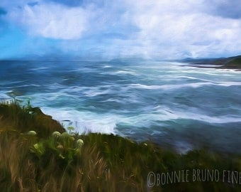 Oregon Coast fine art print, home wall decor, office wall art, ocean waves, pacific coast, painterly image, summer trends, blue sky